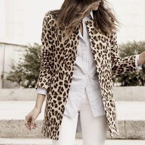 ZARA WOMEN Leopard Print Coat Collarless W/Zipper